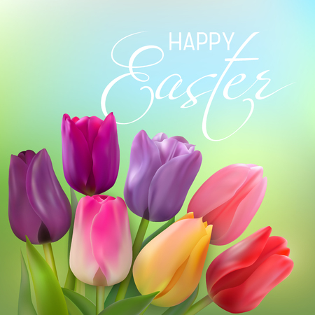 Bouquet of red, yellow, pink, purple and lilac tulips on a light green background.