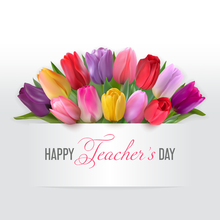 Teachers day card with tulips