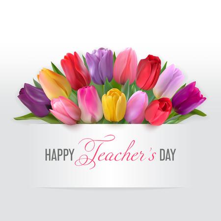 Tarjeta del día del maestro con tulipanes