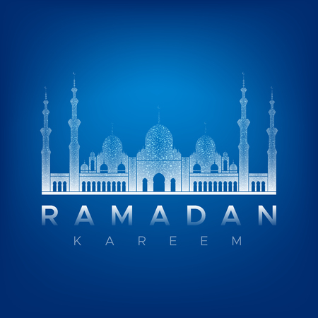 Light gradient silhouette of a mosque on a dark blue background. White inscription Ramadan Kareem. Isolated vector illustration.