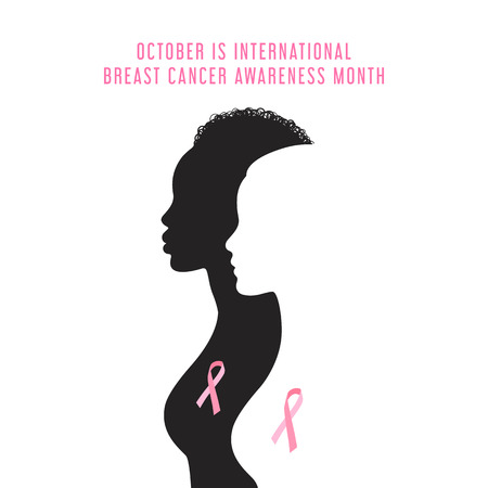 Breast cancer awareness month card with women silhouette Vector illustration. Çizim
