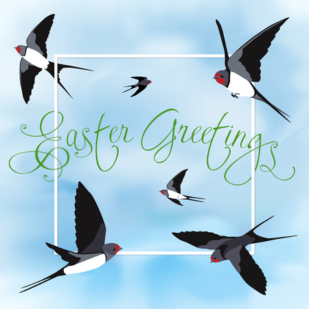 Happy Easter card with swallows Çizim