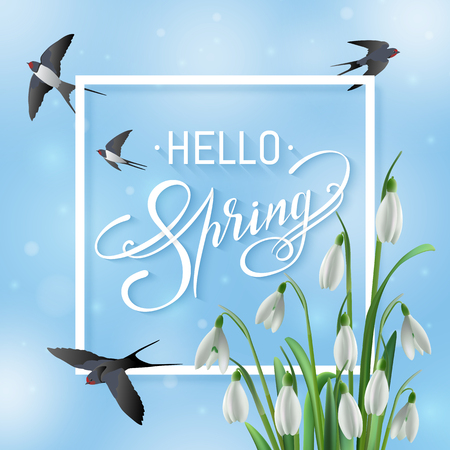 White frame and Spring Sale text on a blue sky background with beautiful white snowdrops and swallows. Lettering on a blur background with blurred spots, shine and photo realistic flowers.