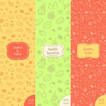 Set of organic and healthy food seamless pattern illustration.