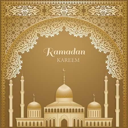 Ornate vector islamic mosque door, silhouettes of a mosque for Ramadan wishing. Arabic ornamental outline golden decor. Islamic background. Ramadan Kareem greeting card, advertising, discount, poster.