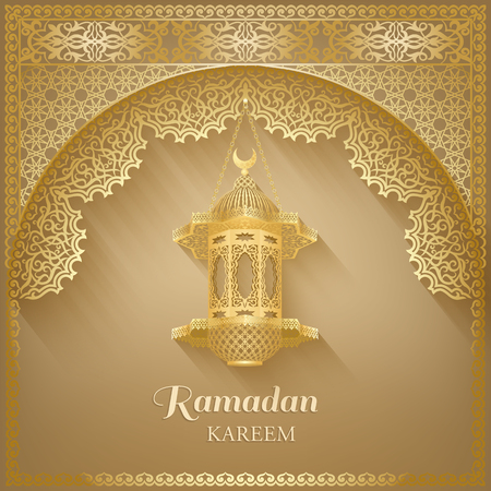 Ornate vector islamic mosque door, vintage lantern for Ramadan wishing. Arabic ornamental lamps. Outline golden decor. Islamic background. Ramadan Kareem greeting card, advertising, discount, poster.