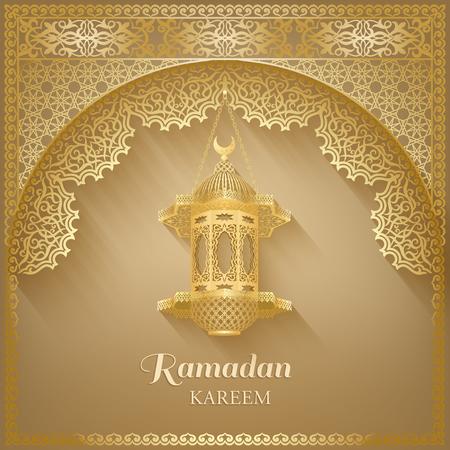 Ornate vector islamic mosque door, vintage lantern for Ramadan wishing. Arabic ornamental lamps. Outline golden decor. Islamic background. Ramadan Kareem greeting card, advertising, discount, poster.