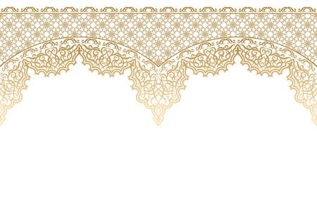 Golden isolated islamic ornament on a white background. Ornate ornament for design for Ramadan Kareem, Eid-Al-Adha mubarak. Muslim community festival vector illustration. Vintage style. Stock Illustratie