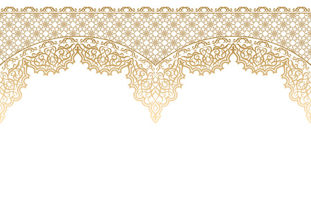 Golden isolated islamic ornament on a white background. Ornate ornament for design for Ramadan Kareem, Eid-Al-Adha mubarak. Muslim community festival vector illustration. Vintage style. Vettoriali