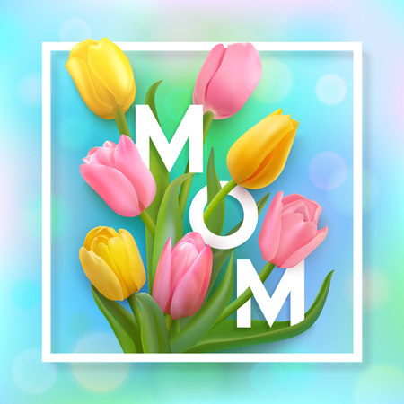 Happy mother's day card with tulips.