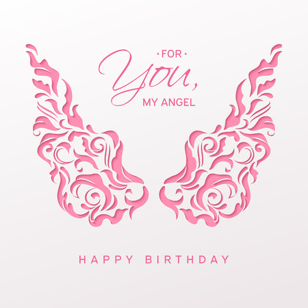 Elegant paper cut pink lacy angel wings. Outline ornamental decor with shadow. Congratulation pink text For you, my angel, happy birthday. Laser cut greeting card, carving, paper cutting style. Banco de Imagens - 101141597