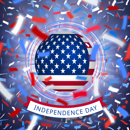 Happy USA independence day card with confetti