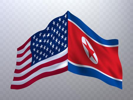 Flags of USA and North Korea