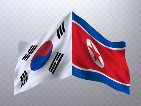 Flags of South Korea and North Korea