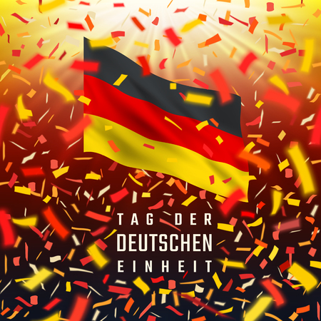 Realistic waving National flag of Germany. Red, yellow, black design with blurred rays and colorful flying confetti and text Tag Der Deutschen Einheit. Stock Illustratie