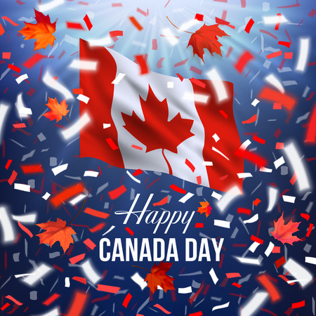 Realistic waving National flag of Canada. Red, white, blue design with blurred rays and colorful flying confetti, maple leaves and text Happy Canada Day. Stock Illustratie
