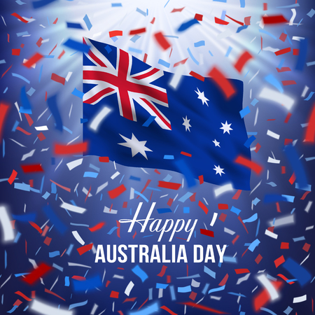 Realistic waving national flag of Australia. Red, white, blue design with blurred rays and colorful flying confetti Stock Illustratie