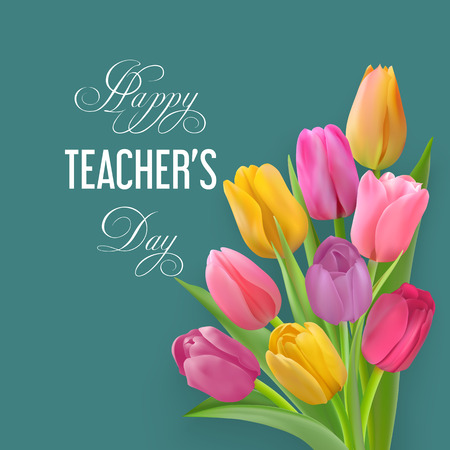 Teachers day card with tulips