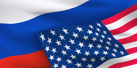 Waving National flags of USA and Russian Federation. Banner for First formal summit between the two world leaders.