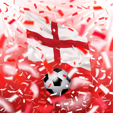 Soccer ball with realistic waving Flag of England. White, red, design with blurred rays and colorful flying confetti. Vector illustration.
