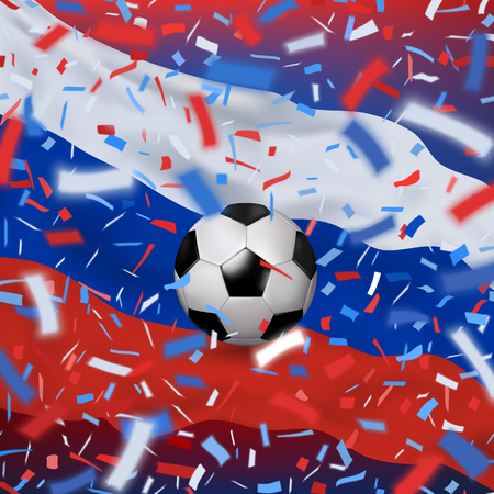 Soccer ball with flag of Russia and colorful flying confetti on a blue background. Vector illustration. Red, white, blue design with blurred rays. Vector illustration.