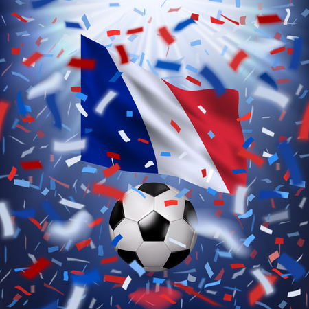 Soccer ball with realistic waving National flag of France. White, red, blue design with blurred rays and colorful flying confetti. Vector illustration.