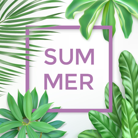 Green summer tropical background with exotic palm leaves and lilac frame. Vector photorealistic exotic palm leaves. Summer banner for cosmetics, textile, print, party invitation, sale design. Stock Illustratie