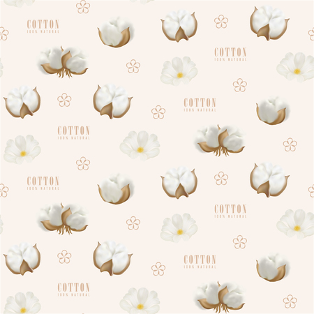 Vector seamless pattern with photo realistic cotton bud and beige vector simple cotton flower and text Cotton 100 percent natural on a light background. Stock Illustratie