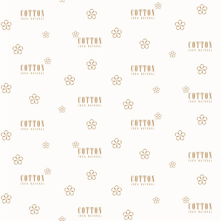 Vector seamless pattern with beige vector simple cotton flower and text Cotton 100 percent natural on a light background. Perfect for wallpapers, web page backgrounds, surface textures, textile.
