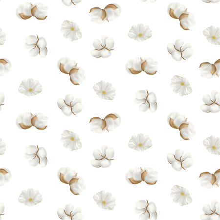 Vector seamless pattern with photo realistic cotton plant on a light background. Perfect for wallpapers, web page backgrounds, surface textures, textile. Stock Illustratie