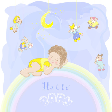 Child in yellow pajamas sleeping on a rainbow. Hello baby card. yellow moon and fox, bear and hare, deer, lion toys on a blue watercolor background. Hand drawing.