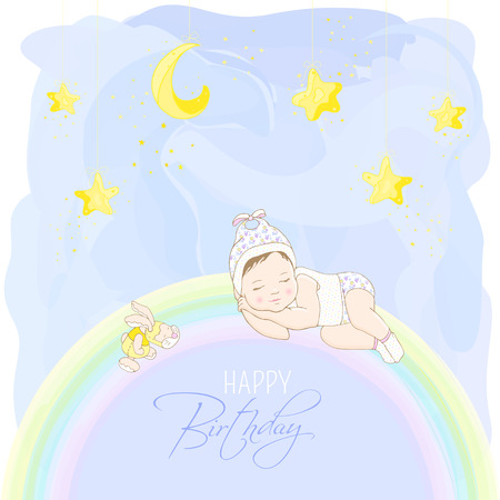 Child in light pajamas sleeping on a rainbow. Happy birthday card. Yellow moon and stars on a blue watercolor background. Hand drawing.