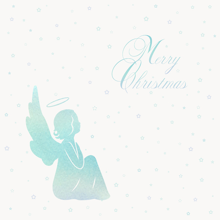 Angel silhouette and nimbus. Beautiful Flying angel and Merry Christmas calligraphy font text on a Watercolor blue background.