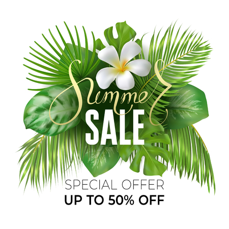 Photo realistic palm leaves, plumeria flower and handwriting lettering text Summer, special offer on a light background. Poster for promotions, magazines, advertising. Stock Illustratie