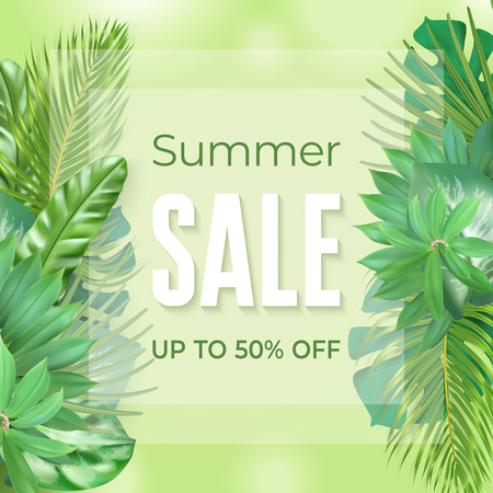 Photo realistic palm leaves and lettering text Summer, Up to 50 percent on a light green background. Poster for promotions, magazines, advertising.