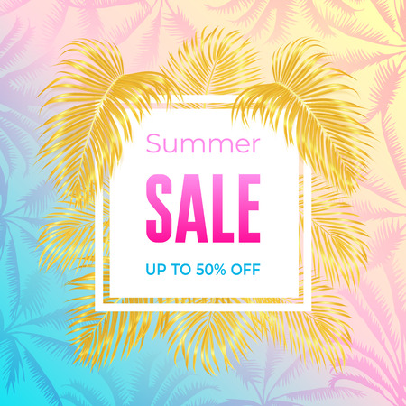 Photo realistic palm leaves, white banner text Summer sale, Up to 50 percent on a light gradient background. Poster for promotions, magazines, advertising.