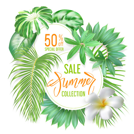 Photo realistic palm leaves, plumeria flower and handwriting lettering text Summer, special offer on a light round banners. Poster for promotions, magazines, advertising. Stock Illustratie