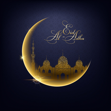 Golden moon, sparkles shine mosque silhouette on a night sky background and Eid Al Adha calligraphic congratulation. Vector Illustration for greeting card, poster and banner