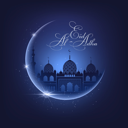 Shine moon, mosque silhouette on a night blue sky background and Eid Al Adha calligraphic congratulation. Vector Illustration for greeting card, poster and banner Illustration
