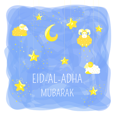 Eid Mubarak cartoon design with stars, sheeps