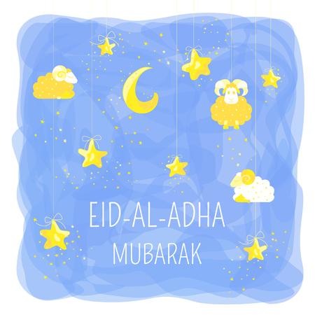 Eid Mubarak cartoon design with stars, sheeps