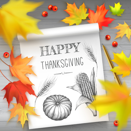 Vector illustration with autumn leaves of maple and album with hand painted pumpkin, corn cob, wheat ear and text Happy Thanksgiving. Photorealistic leaves big, small, blurry.