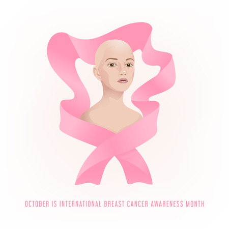 Vector image of the upper torso of a woman without hair after treatment of breast cancer, wrapped in a pink ribbon. October is international Breast cancer awareness month. Ilustração