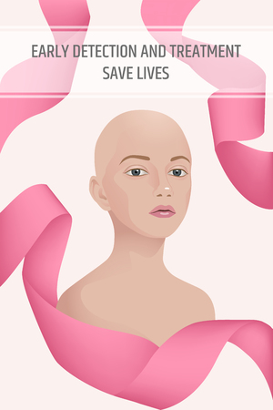 Vector image of the upper torso of a woman without hair after treatment of breast cancer, wrapped in a pink ribbon. Early detection and treatment save lives text