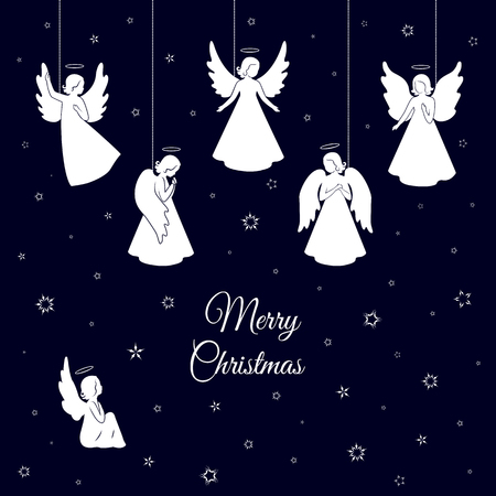 White Christmas angels with wings and nimbus