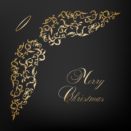 Christmas card with angel wings Stock Illustratie