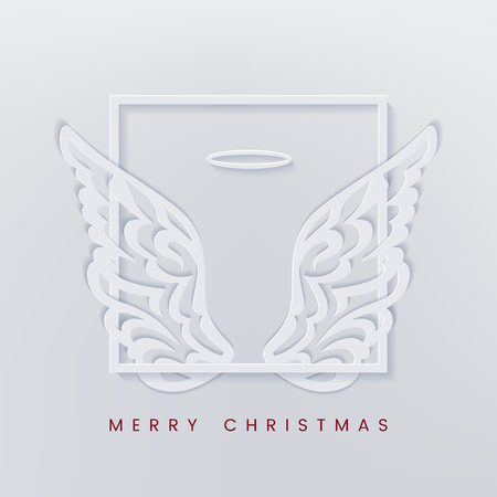 Christmas typographic with angel wings