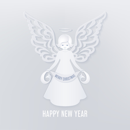 Merry Christmas paper cut card with angel Stock Illustratie