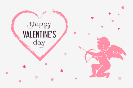 Horizontal Happy Valentines Day greeting card with pink brush line heart shape. Isolated silhouette of Cupid shooting arrow on a light background. Vector illustration.