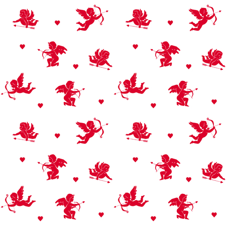 Seamless red silhouettes isolated cupids and hearts on a white background. Vector background for design to the Valentines Day Stock Illustratie